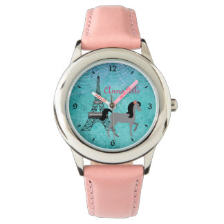 Personalisiertes Paris-Pony-oh La-La-Grau-Pferd Armbanduhr