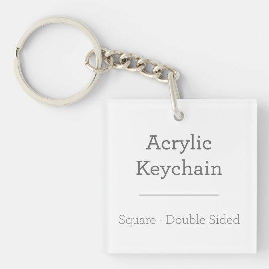 Quadrat (doppelseitig) Schlüsselanhänger