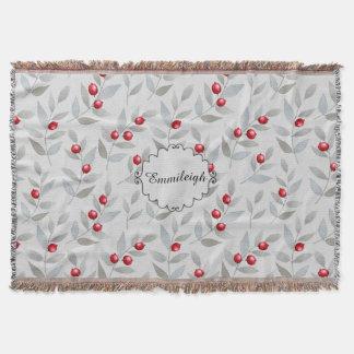 Personalisiertes rotes Beeren-Grau-Blätter Decke