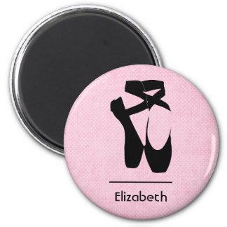 Personalisiertes schwarzes Ballett-Schuh-en Pointe Runder Magnet 5,7 Cm