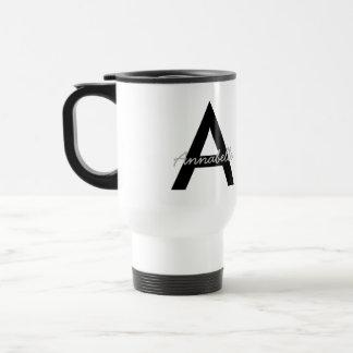Personalisiertes Typografie-Monogramm Edelstahl Thermotasse