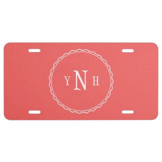 Personalizable mit Dreibuchstabe Monogramm US Nummernschild