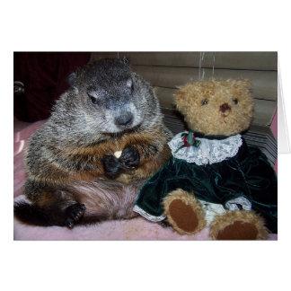 Pet Groundhog Maude mit ihrer Karte
