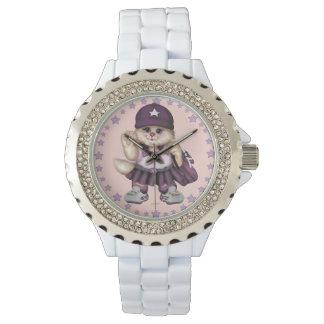 PFADFINDERcat-MÄDCHEN Rhinestone-Weiß-Email Armbanduhr