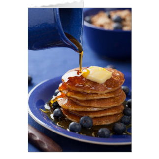 Pfannkuchen mit Sirup und Blaubeere Grußkarte
