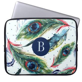 Pfau Boho versieht Muster-Monogramm mit Federn Laptopschutzhülle