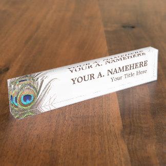 Pfau-Feder-Schreibtisch-Nummernschild Namensplakette