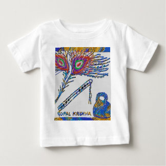 Pfau-Feder und Flöte - Hase Krishna Baby T-shirt