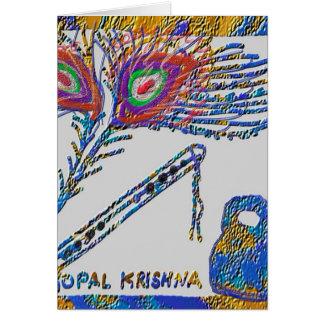Pfau-Feder und Flöte - Hase Krishna Grußkarte