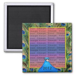 Pfau-Hochzeits-Foto-Magnet Quadratischer Magnet