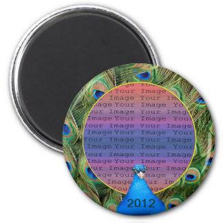 Pfau-Hochzeits-Foto-Magnet Runder Magnet 5,1 Cm