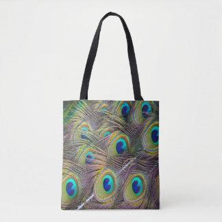 Pfau versieht schöne Tascheneinkaufstasche mit