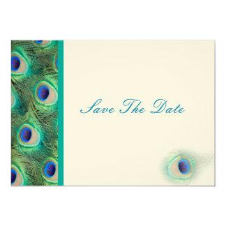 Pfaublau aquamarin Save the Date 12,7 X 17,8 Cm Einladungskarte