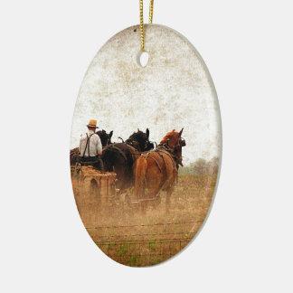Pferd angetriebene praktische Arbeit Ovales Keramik Ornament