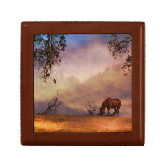 Pferd im Wind-Andenken-Fliesen-und Holz-Kasten Geschenkbox
