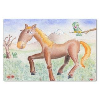 Pferd und Eule Seidenpapier