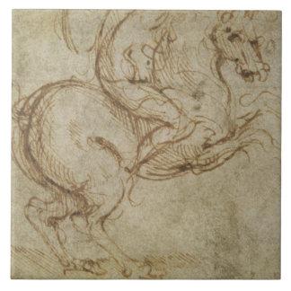 Pferd und Kavalier (Feder auf Papier) Große Quadratische Fliese
