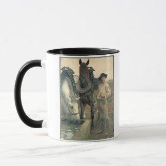 Pferde an der Wasser-Abflussrinne, 1884 (Öl auf Tasse