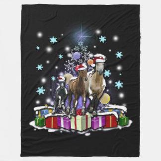 Pferde mit Weihnachtsarten Fleecedecke