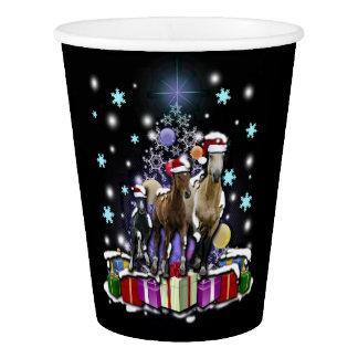 Pferde mit Weihnachtsarten Pappbecher