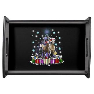 Pferde mit Weihnachtsarten Tablett