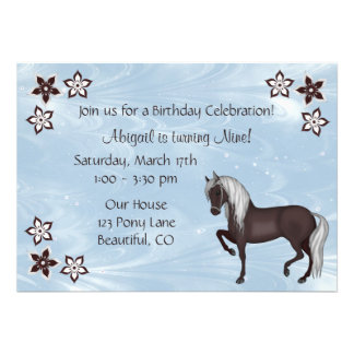 Pferde-und Blumen-Geburtstags-Einladung ~ Mädchen
