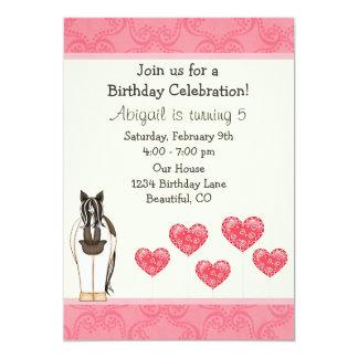 Pferde-und Herz-Geburtstags-Einladung für Mädchen