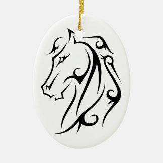 Pferdekopf-schwarzes Symbol auf weißer Verzierung Ovales Keramik Ornament