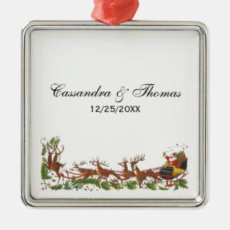 Pferdeschlitten-Ren-Grenze Weihnachtsweihnachten Silbernes Ornament