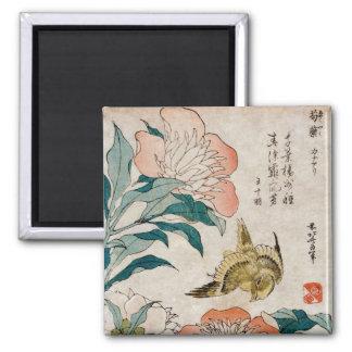 Pfingstrose u. Kanarienvogel - japanischer Kunst-M Quadratischer Magnet