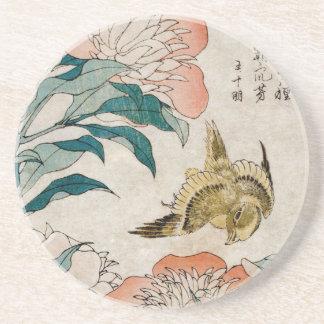 Pfingstrose u. Kanarienvogel - japanischer Sandstein Untersetzer