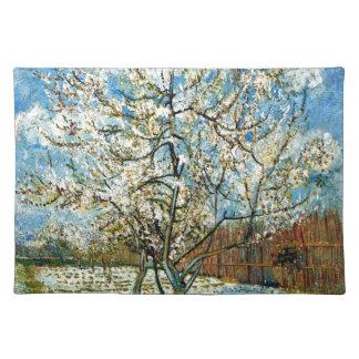 Pfirsich-Bäume in der Blüte Vincent van Gogh Stofftischset