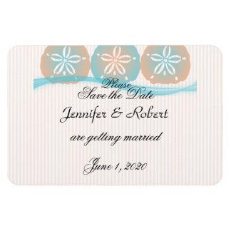 Pfirsich-blaue Sand-Dollar-Strand-Hochzeit Save Flexible Magnete