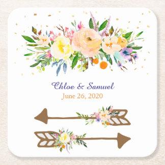 Pfirsich-Blumenstrauß-Hochzeit Rechteckiger Pappuntersetzer