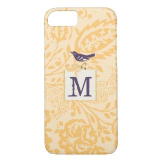 Pfirsich-korallenrotes Aubergine Foral Monogramm iPhone 8/7 Hülle