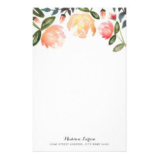 Pfirsich-Pfingstrosen-personalisiertes Briefpapier