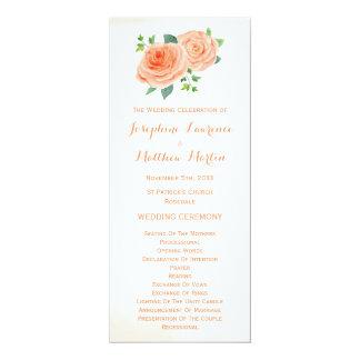 Pfirsich-Rosenwatercolor-Hochzeits-Programme 10,2 X 23,5 Cm Einladungskarte