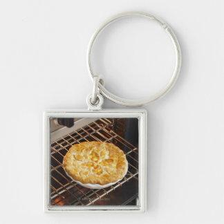Pfirsich-Torte Silberfarbener Quadratischer Schlüsselanhänger
