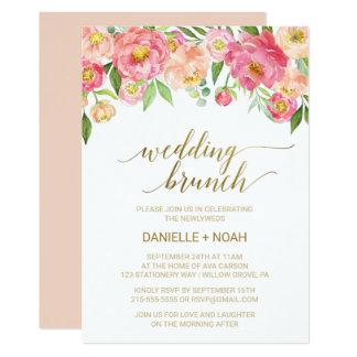 Pfirsich und rosa Pfingstrosen-Blumen, die Brunch 12,7 X 17,8 Cm Einladungskarte