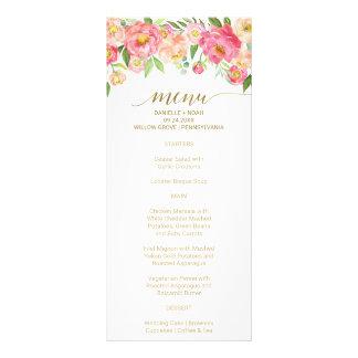 Pfirsich und rosa Pfingstrosen-Blumen, die Werbekarte