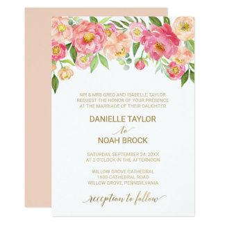 Pfirsich und rosa Pfingstrosen-Blumen-formale 12,7 X 17,8 Cm Einladungskarte