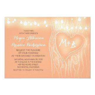 Pfirsichfarbschnur beleuchtet romantische Hochzeit 12,7 X 17,8 Cm Einladungskarte