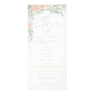 Pfirsichwatercolor-Blumen-Hochzeits-Programm Werbekarte