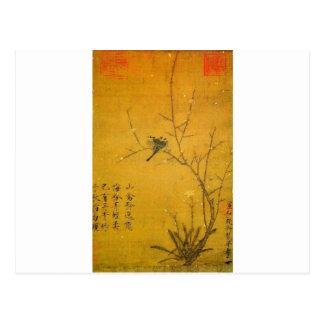 Pflaume und Vögel durch Kaiser Huizong Postkarte