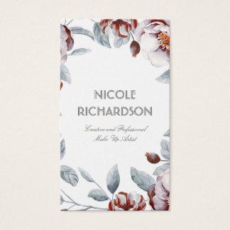 Pflaumelila Watercolor-Blumen-Blumenstrauß elegant Visitenkarten