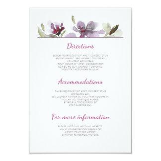 Pflaumen-Aquarell-Hochzeits-Details - Karte