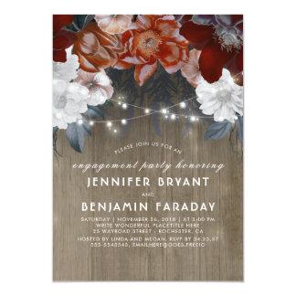 Pflaumen-Blumenlicht-rustikales Verlobungs-Party 12,7 X 17,8 Cm Einladungskarte
