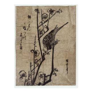 Pflaumen-Blüte und Bush-Trällerer durch Hiroshige Postkarte