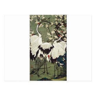 Pflaumen-Blüten und Kräne durch Ito Jakuchu Postkarte