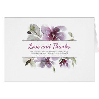 Pflaumen-danken BlumenAquarell-Hochzeit Ihnen Karte